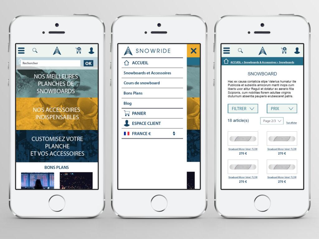 SnowRide écrans mobile